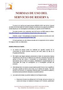 NORMAS DE USO DEL SERVICIO DE RESERVA
