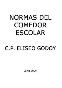 NORMAS DEL COMEDOR ESCOLAR C.P. ELISEO GODOY