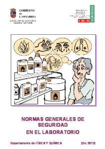 NORMAS GENERALES DE SEGURIDAD EN EL LABORATORIO