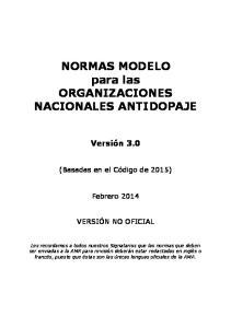 NORMAS MODELO para las ORGANIZACIONES NACIONALES ANTIDOPAJE