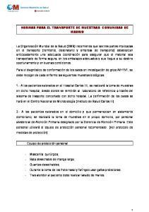 NORMAS PARA EL TRANSPORTE DE MUESTRAS COMUNIDAD DE MADRID
