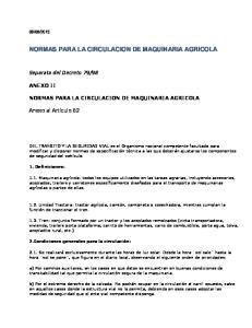 NORMAS PARA LA CIRCULACION DE MAQUINARIA AGRICOLA