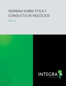 NORMAS SOBRE ETICA Y CONDUCTA DE NEGOCIOS. Mayo 2011