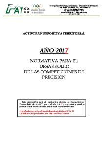 NORMATIVA PARA EL DESARROLLO DE LAS COMPETICIONES DE PRECISIÓN