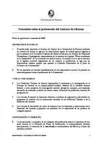 Normativa sobre el profesorado del Instituto de Idiomas