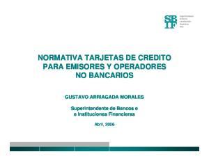 NORMATIVA TARJETAS DE CREDITO PARA EMISORES Y OPERADORES NO BANCARIOS
