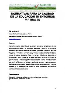 NORMATIVAS PARA LA CALIDAD DE LA EDUCACION EN ENTORNOS VIRTUALES