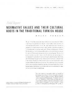 NORMATIVE VALUES AND THEIR CULTURAL ROOTS IN THE TRADITIONAL TURKISH HOUSE