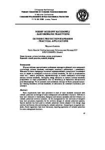 NORMY OCHRONY KATODOWEJ ZASTOSOWANIE PRAKTYCZNE CATHODIC PROTECTION STANDARDS PRACTICAL APPLICATIONS