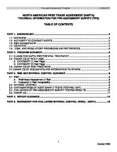 NORTH AMERICAN FREE TRADE AGREEMENT (NAFTA) TECHNICAL INFORMATION FOR PRE-ASSESSMENT SURVEY (TIPS) TABLE OF CONTENTS
