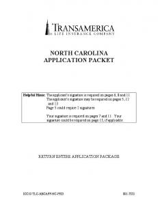 NORTH CAROLINA APPLICATION PACKET