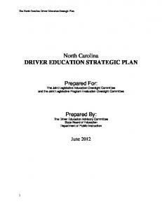 North Carolina DRIVER EDUCATION STRATEGIC PLAN