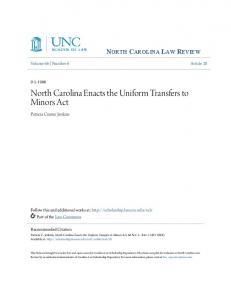 North Carolina Enacts the Uniform Transfers to Minors Act