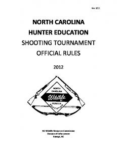 NORTH CAROLINA HUNTER EDUCATION SHOOTING TOURNAMENT OFFICIAL RULES