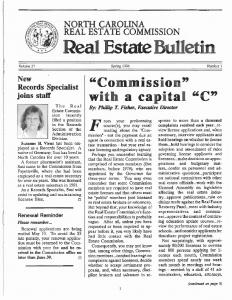 NORTH CAROLINA REAL ESTATE COMMISSION. Spring 1996 Number 1