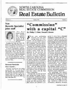 NORTH CAROLINA REAL ESTATE COMMISSION. Spring 1996 Number 1