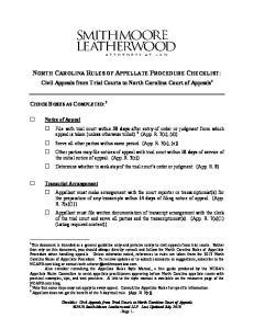NORTH CAROLINA RULES OF APPELLATE PROCEDURE CHECKLIST: