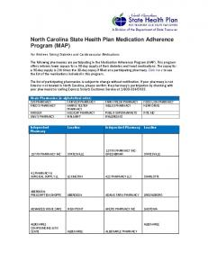 North Carolina State Health Plan Medication Adherence Program (MAP)