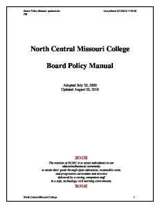 North Central Missouri College. Board Policy Manual