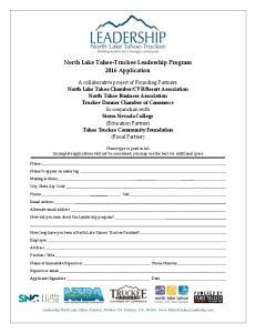 North Lake Tahoe-Truckee Leadership Program 2016 Application