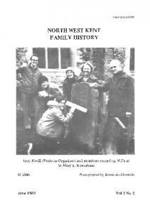NORTH WEST KENT FAMILY HISTORY