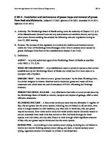 Northbridge Board of Health Code of Regulations 201-4
