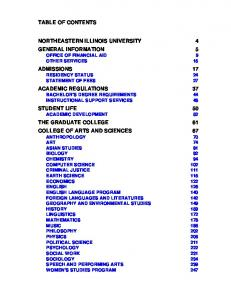 NORTHEASTERN ILLINOIS UNIVERSITY 4 GENERAL INFORMATION 5 OFFICE OF FINANCIAL AID 9 OTHER SERVICES 15