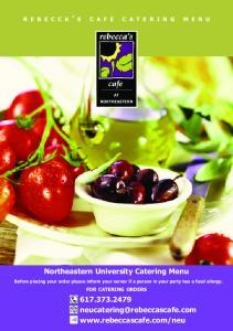 Northeastern University Catering Menu