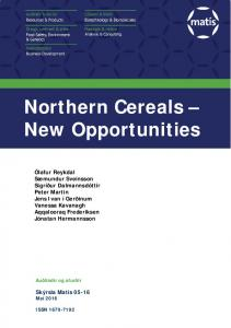 Northern Cereals New Opportunities
