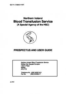 Northern Ireland Blood Transfusion Service PROSPECTUS AND USER GUIDE