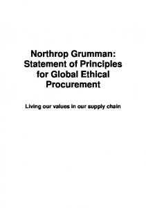 Northrop Grumman: Statement of Principles for Global Ethical Procurement. Living our values in our supply chain