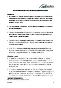 Northumbria University Policy for Managing Intellectual Property
