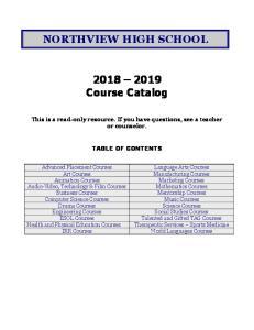 NORTHVIEW HIGH SCHOOL Course Catalog
