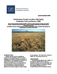 Northwestern Nevada Two Row Malt Barley Production Costs and Returns, 2008