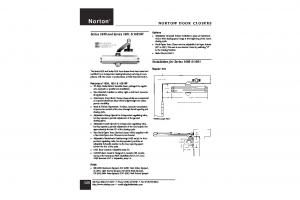 Norton NORTON DOOR CLOSERS. Series 1600 and Series 1601 & 1601BF. Installation for Series 1600 & 1601