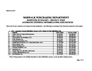 NORWALK PURCHASING DEPARTMENT RESPONSE SUMMARY - PROJECT #3405 AUTOMATIC EXTERNAL DEFIBRILLATOR (AED) DEVICES