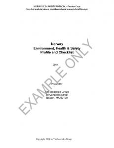 Norway Environment, Health & Safety Profile and Checklist