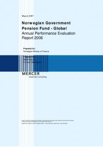 Norwegian Government Pension Fund - Global Annual Performance Evaluation Report 2006