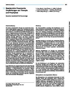 Nosokomiale Pneumonie: Empfehlungen zur Therapie und Prophylaxe