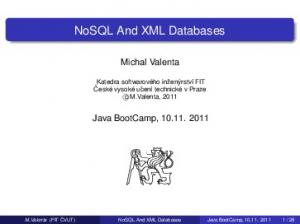 NoSQL And XML Databases
