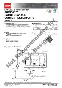 Not Recommended for. New Designs. Datasheet. EARTH LEAKAGE CURRENT DETECTOR Automotive EARTH LEAKAGE CURRENT DETECTOR IC BD9582F-M