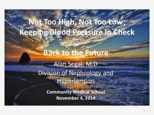 Not Too High, Not Too Low: Keeping Blood Pressure in Check. Back to the Future