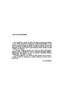 NOTA DE LOS EDITORES LOS EDITORES