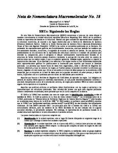 Nota de Nomenclatura Macromolecular No. 18