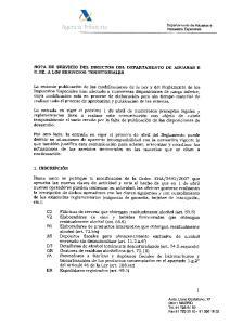 NOTA DE SERVICIO DEL DIRECTOR DEL DEPARTAMENTO DE ADUANAS E II.EE. A LOS SERVICIOS TERRITORIALES