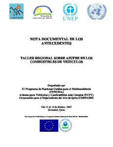 NOTA DOCUMENTAL DE LOS ANTECEDENTES