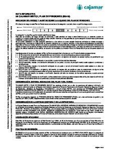 NOTA INFORMATIVA DE CAJAMAR MIXTO I, PLAN DE PENSIONES (N3419)
