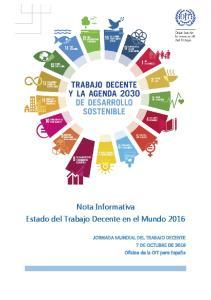 Nota Informativa Estado del Trabajo Decente en el Mundo 2016