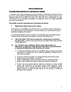 NOTA INFORMATIVA MEDIDAS PARA COMBATIR EL CONSUMO DE TABACO