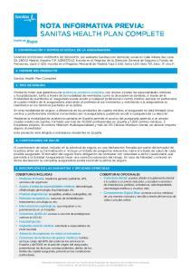 NOTA INFORMATIVA PREVIA: SANITAS HEALTH PLAN COMPLETE